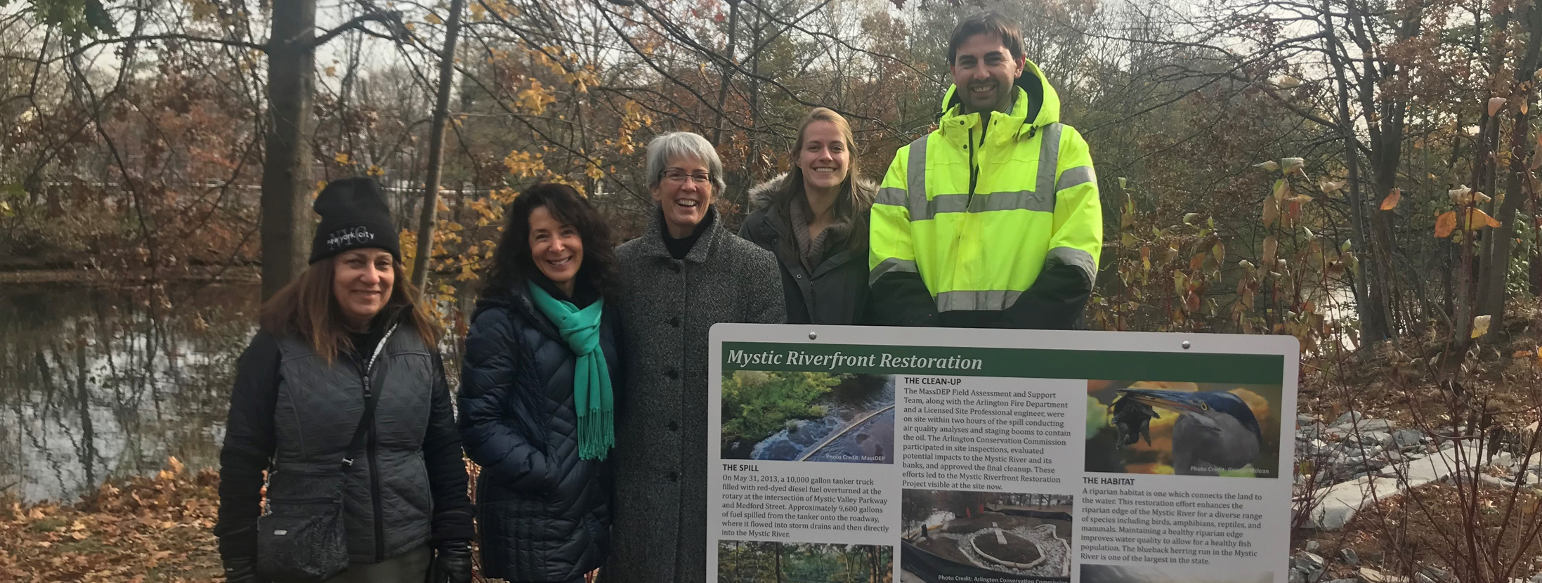 MassDEP's Natural Resource Damages (NRD) Program supported the Mystic Riverfront Restoration project on the Mystic River in Arlington, MA.  Shown above are representatives from DCR, Arlington Conservation Commission, MassDEP, and Arlington DPW.